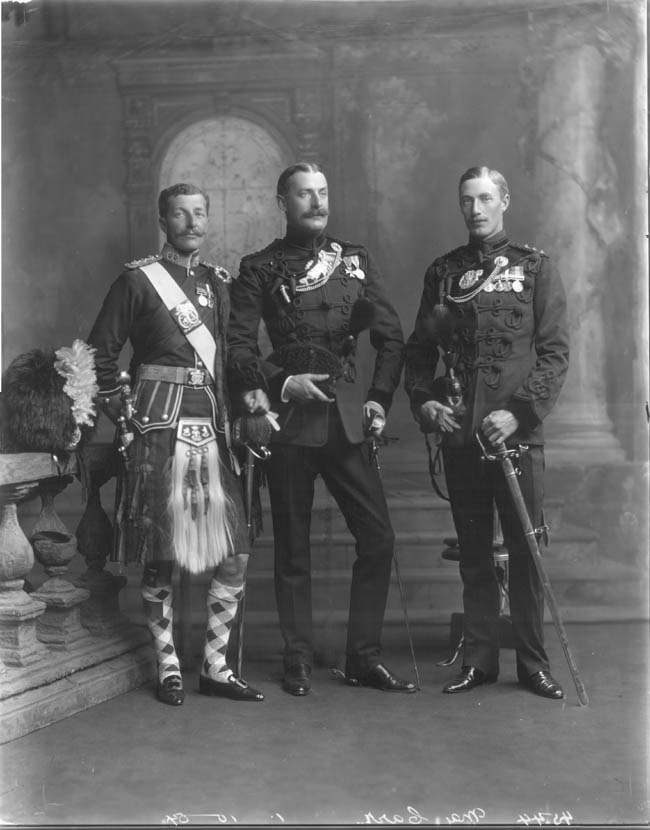 (1) Captain, later Major Henry Barchard Fenwick Baker-Carr (1873- ?); 2nd Lieutenant Argyll & Sutherland Highlanders 1893; Lieutenant 1896; Captain 1900; Major 1914.  (2) Major Robert George Teesdale Baker-Carr (1867-1931); entered Rifle Brigade 1888; Captain 1893; Major 1904-1906; ADC to Lord Elgin 1894-1899 & Lord Curzon 1899-1905, Viceroys of India. (3) Captain, later Brigadier-General Christopher D'Arcy Bloomfield Saltern Baker-Carr (1878-1949); entered Rifle Brigade 1898; Captain Rifle Brigade 1902-1906; Lieutenant-Colonel Tank Corps 1917; Brigade Commander 1918-1919; Brigadier General 1919.