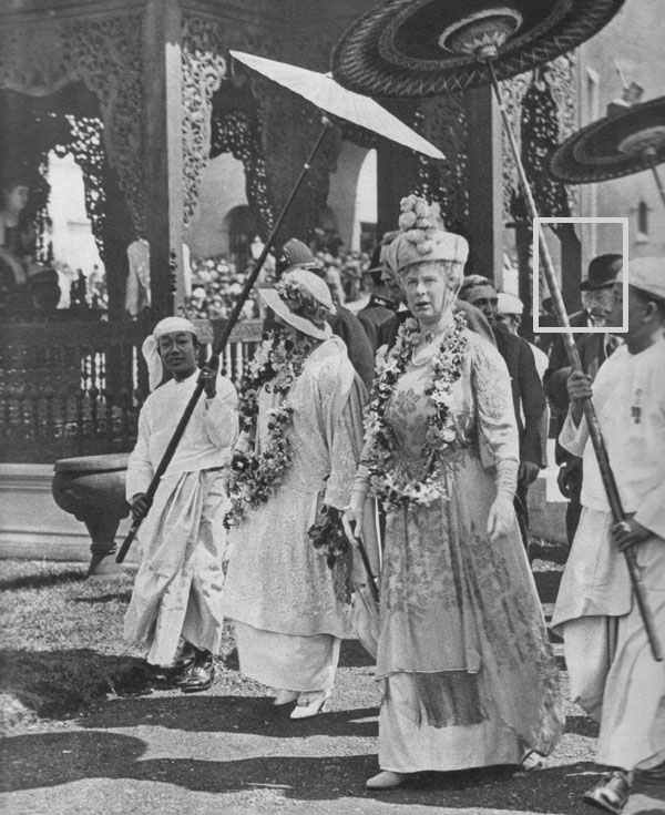 Queen Mary shows Queen Marie around the Indian Pavilion at the great Wembley Exhibition, 1924.  Queen Mary wore a gown of palest silver-grey with a small swathed toque finished in the front with an upstanding mount. Queen Marie of Roumania looked very summery in white, a frock, hat, and shoes to match...and I was told that the garlands presented to the Royal party were composed of delicate orchids, sweet-scented lilies of the valley, and small white roses.